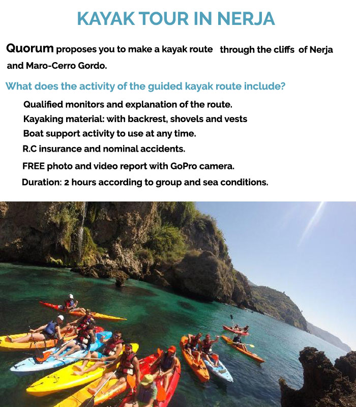 Kayak Tour in Nerja. Description about this funny activity. Fun and Spanish.